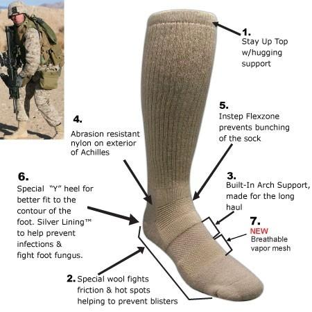 Covert Threads Sand Military Boot Sock 军用袜子