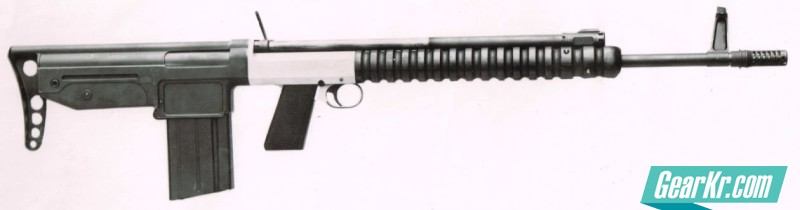 A bullpup, 7mm-caliber experimental variant of the FN FAL rifle