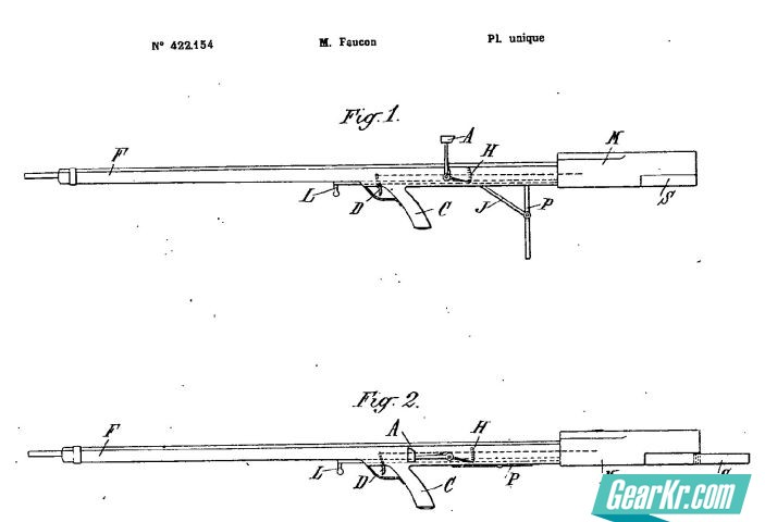 """A diagram from the patent issued to Armand-Frédéric Faucon for his """"balanced rifle"""", dated 1911"""