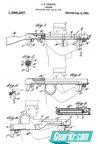 A diagram from the patent issued to U.S. Army Major John Rison Fordyce for his bullpup machine gun (year 1918)