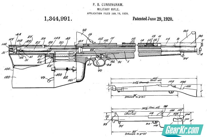 """A diagram showing the layout of the """"military rifle"""" designed in 1920 by U.S. Army Sergeant Paul B. Cunningham"""