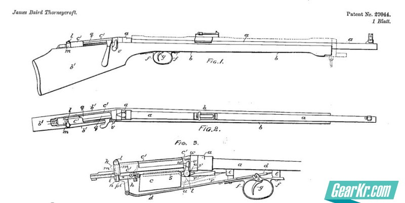 A drawing from the James Baird Thorneycroft's patent for his bullpup bolt-action rifle design