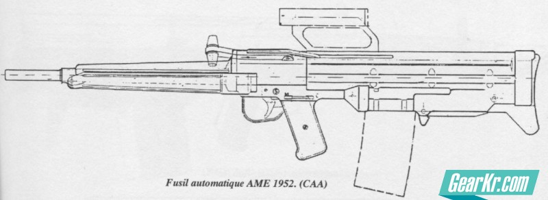 A technical drawing of the bullpup rifle designed at the French AME (Atelier Mécanique de Mulhouse) in 1952