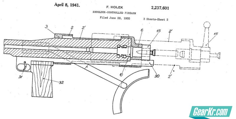 One of the many patents issued to Holek brothers for their early work on bullpup antitank rifles (year 1938)