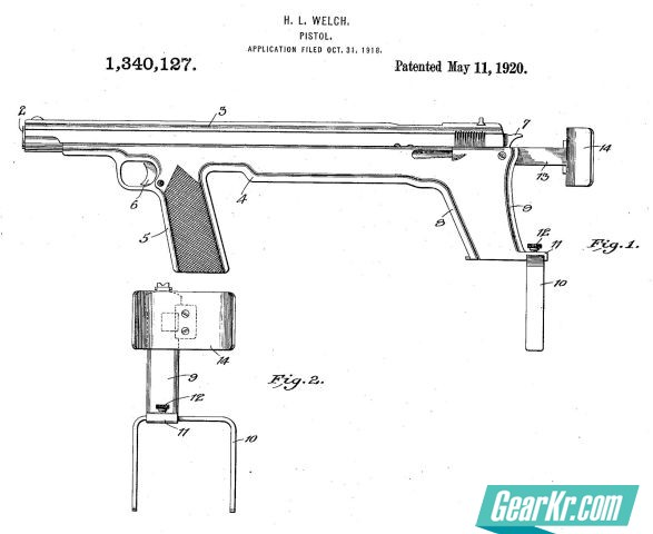 Patent diagram for the bullpup pistol designed in 1918 by H.L. Welsh