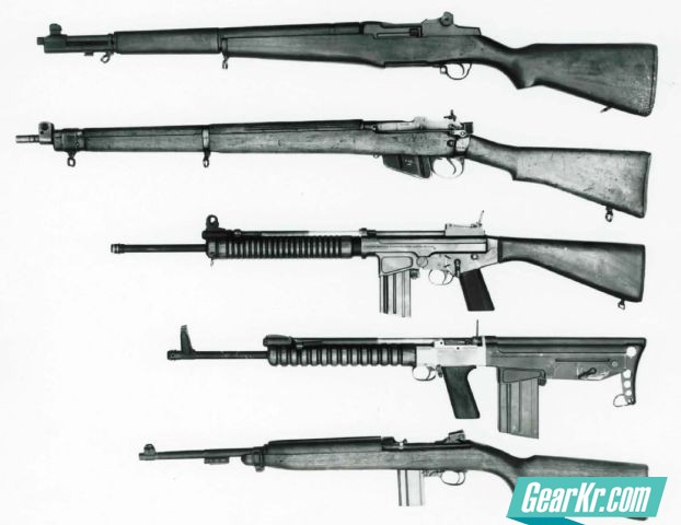 The experimental 7mm FN FAL bullpup rifle, second from the bottom, compared from its conventionally-designed counterpart and to a number of service rifles of its era