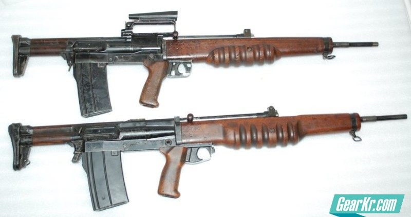 Two versions of the experimental EM-2 Mamba assault rifle the earlier 7mm version on top, the latter 7,62x51mm variant on bottom
