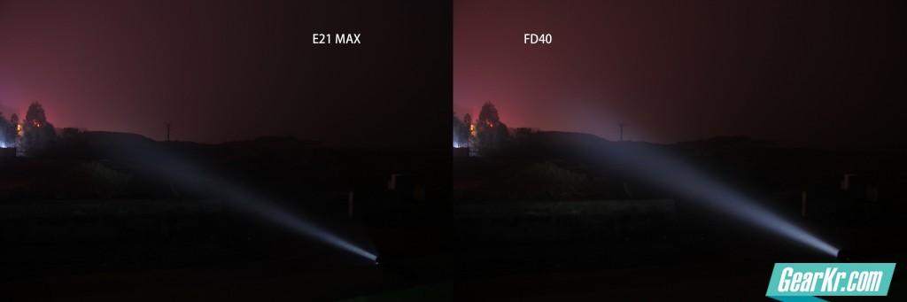 相同相机设置,距离30m光斑,E21 MAX光强度与FD40的570流明档接近