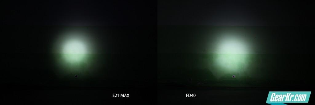 射墙图相同相机设置,左边是E21 MAX 265流明档,右边是FD40最聚光220流明档