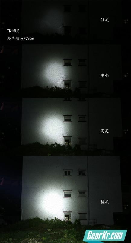 距离楼体约30米的各档亮度,中心很聚光,明暗过度柔和。外层光斑很大,兼顾一定的泛光能力