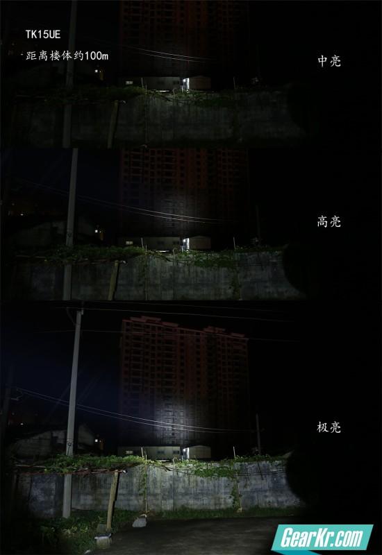 距离围墙约10米,距离楼体约100米。中心光斑直径大约18米,1000Lm的亮度不是盖的。 得益于小而深的光杯设计,在单锂电手中TK15UE的远射能力很是强大,不在其兄长TK22之下