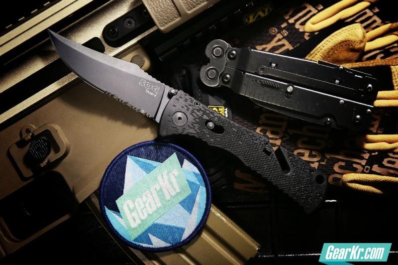 装逼实用两相宜,SOG TF-1三叉戟半齿黑钛镍刃快速折刀浅评